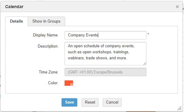 calendrier d'entreprise eXo