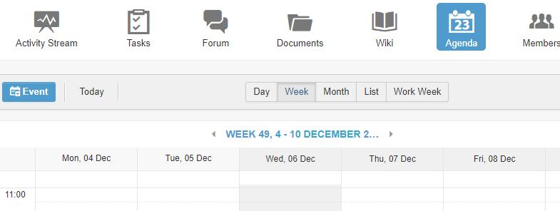 planning d'équipe eXo Platform