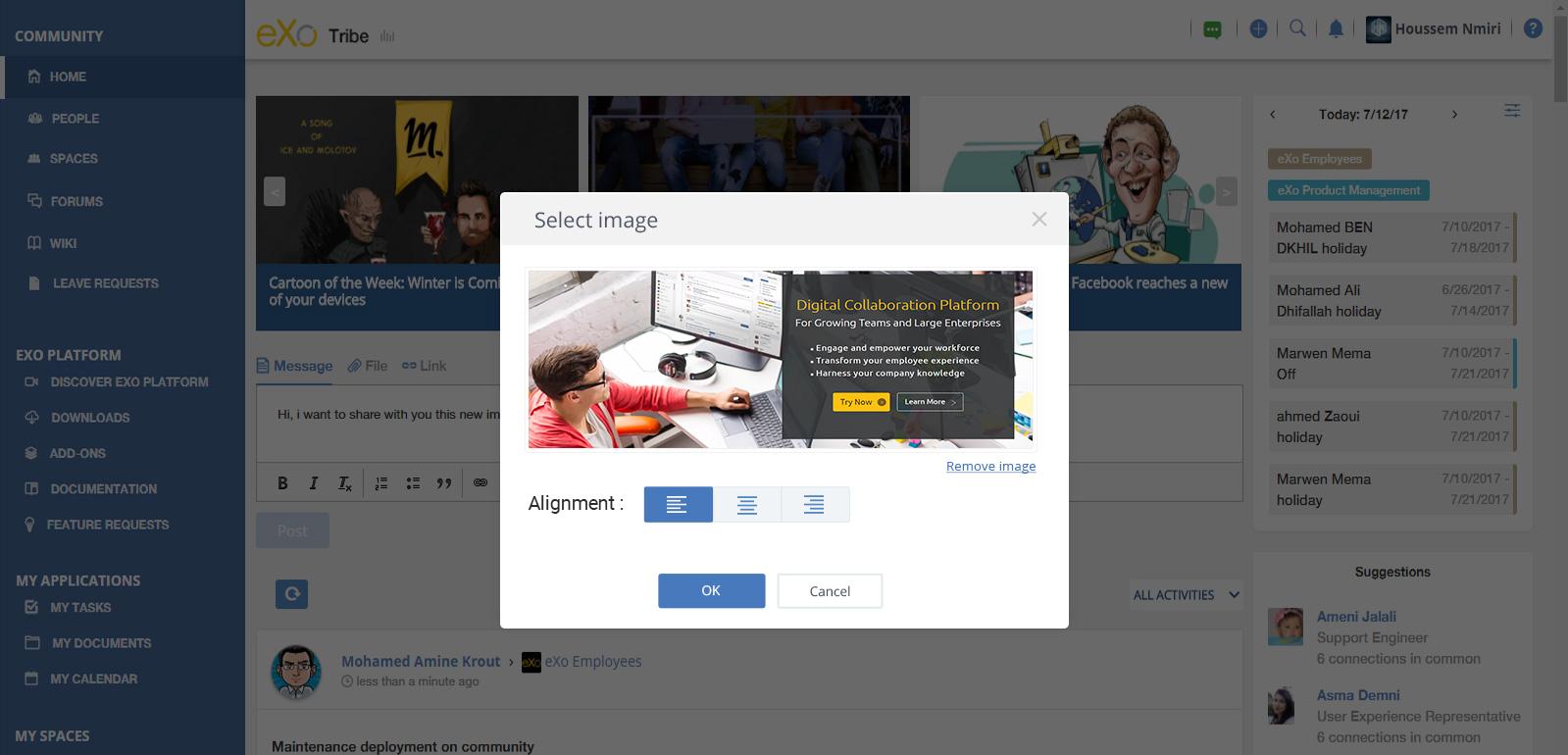upload image in corporate microblogging