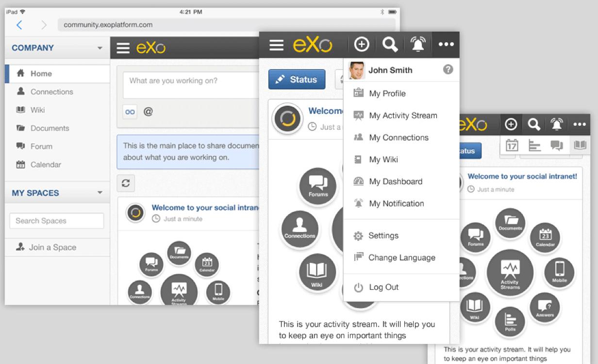 Responsive eXo Platform for mobile