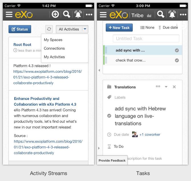 Activity Stream in eXo 4.3 mobile app