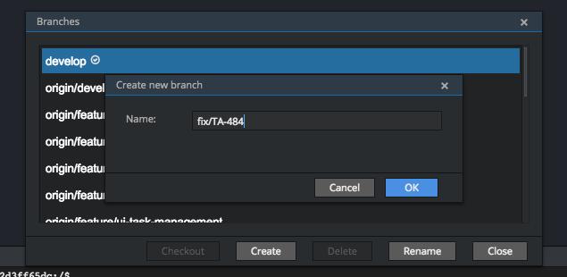 New branch creation on Git branch