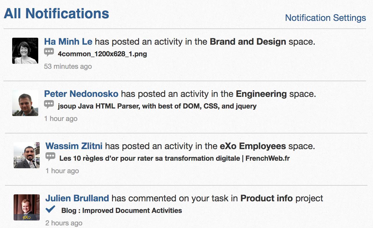 eXo notifications list