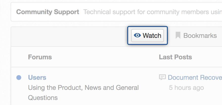 Watch features in eXo forum app