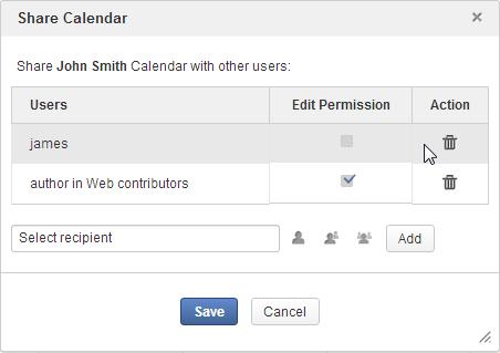 share calendar eXo