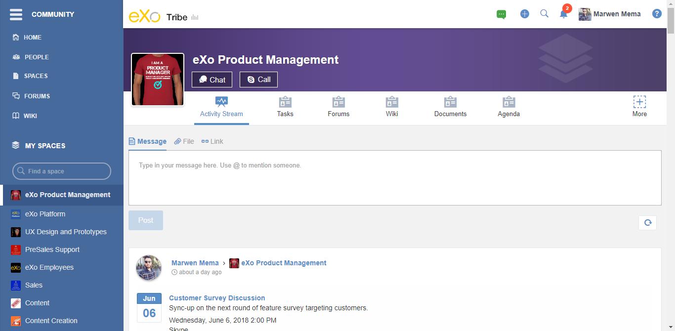 eXo Platform : collaborative team space