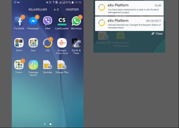 Notification Push sur mobile - eXo Platform