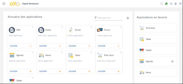 Aperçu des applications eXo Platform