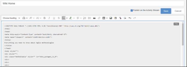 Insert code blocks Wiki eXo Platform