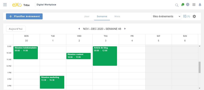 Accès à l'agenda depuis un espace eXo Platform 6.0
