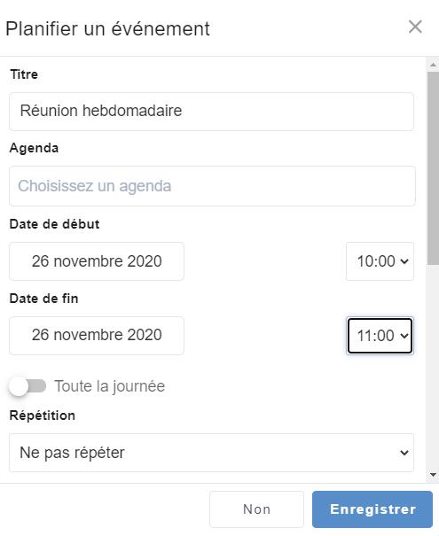 La vue mobile de l'agenda eXo Platform 6