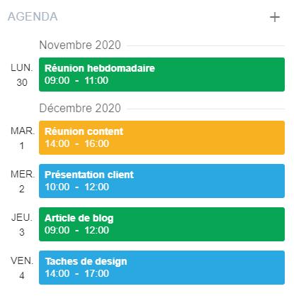 La vue agenda sur la page d'accueil eXo Platform 6.0