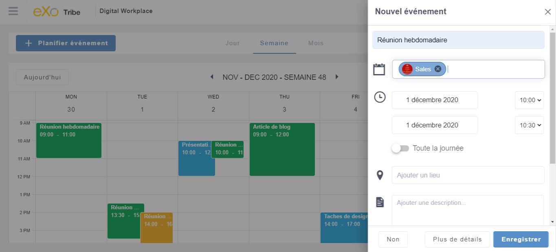 Planification rapide de l'événement