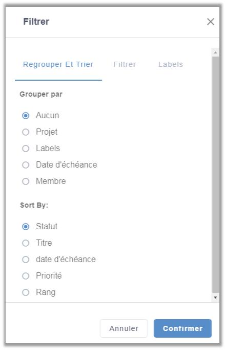 eXo Platform6.1: Filtrer projet de l'application de gestion des tâches